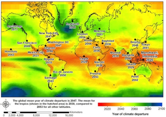 The map below shows predicted climate change correlating with different dates. Photo: Camilo Mora/Nature.