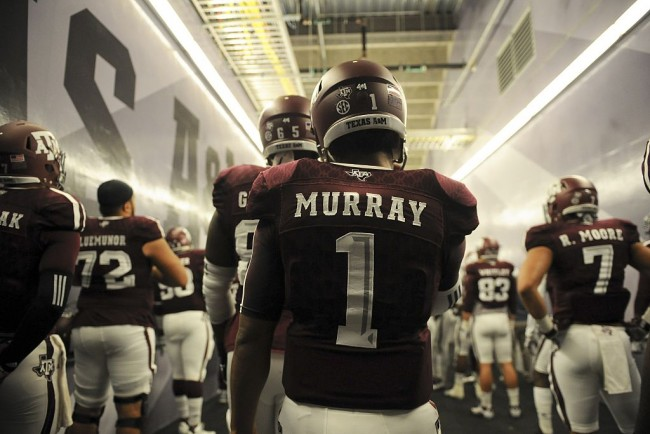 COLLEGE STATION, TX - NOVEMBER 14: Kyler Murray #1 of the Texas A&M Aggies prepares to take the field to face the Western Carolina Catamounts in a NCAA football game at Kyle Field on November 14, 2015 in College Station, Texas.