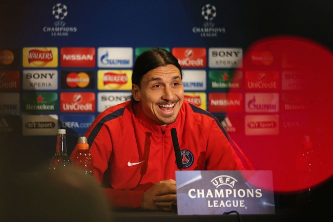 Zlatan Ibrahimovic of Paris Saint-Germain talks during a Paris Saint-Germain press conference ahead of their UEFA Champions League round of 16 second leg match against Chelsea at at Stamford Bridge on March 8, 2016 in London, England.