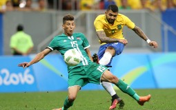 Ismael #15 and Gabriel Barbosa #9 during the men's soccer match between Brazil and Iraq.