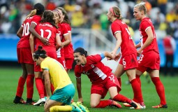 Christine Sinclair of Canada celebrates their second goal during the match between Canada and Australia.