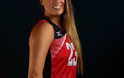 Kelsey Robinson of the USA women's indoor volleyball team poses for a portrait at the American Sports Center.