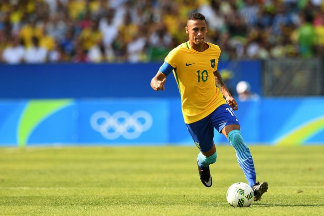 Neymar of Brazil in action during the Men's Semifinal Football match between Brazil and Honduras.