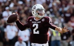 Johnny Manziel #2 of Texas A&M Aggies drops back to pass during the game against the Alabama Crimson Tide