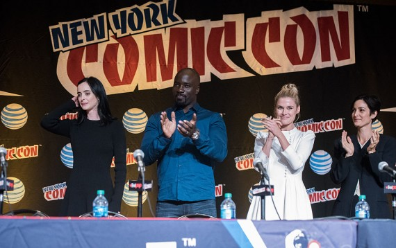 Krysten Ritter, Mike Colter, Rachel Taylor and Carrie-Anne Moss attend the Netflix Presents The Casts Of Marvel's Daredevil And Marvel's Jessica Jones At New York Comic-Con