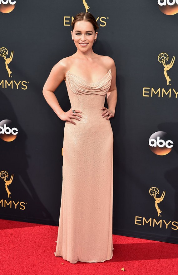 Actress Emelia Clarke attends the 68th Annual Primetime Emmy Awards at Microsoft Theater September 18, 2016 in Los Angeles, California.
