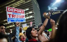 Native Americans protest the upset election of Republican Donald Trump over Democrat Hillary Clinton
