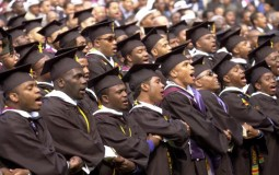Black college students graduate from college.