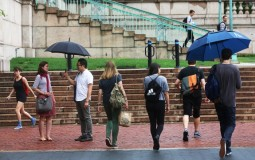 People walking on the Columbia University campus.