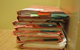 Pile of paper works left unfinished