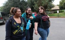 Freshmen college students making new friends