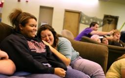 College friends in the university dorm