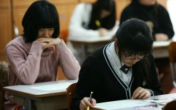 Students taking a test.