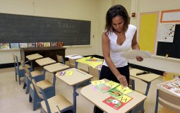 Teacher prepares visuals for class discussion