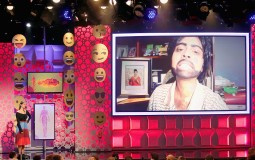 Internet personality Lilly Singh (L) reacts as a video of Manjeet Singh is played on YouTube