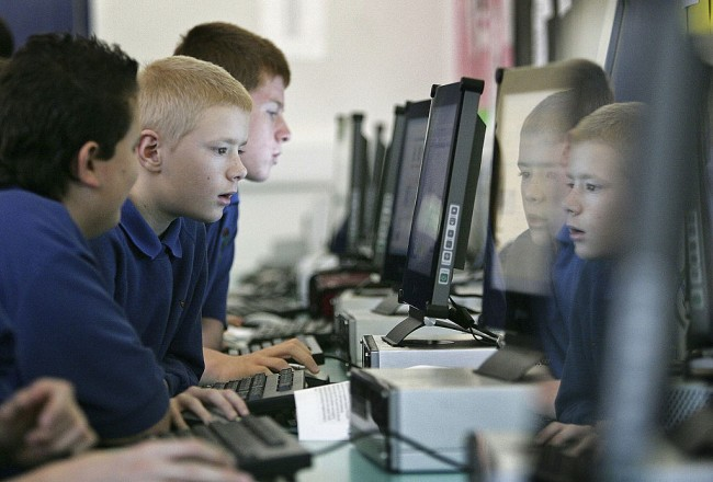 Students using the internet at school.