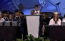 Valedictorian delivers his speech during graduation