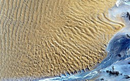Aerial view of the Namib Desert where fairy circles are located